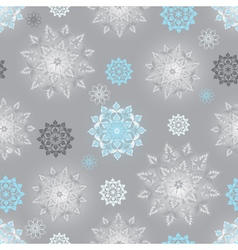 Winter silvery seamless pattern with snowflakes vector