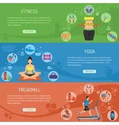 Yoga and fitness horizontal banners vector