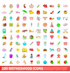 100 motherhood icons set cartoon style vector image vector image
