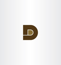 Brown letter d icon logo design vector