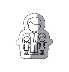 contour man her girls twins icon vector image
