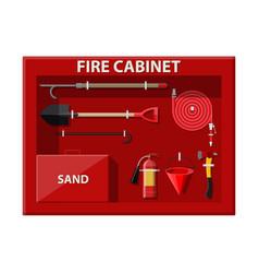 fire cabinet firefighting set fire equipment vector image