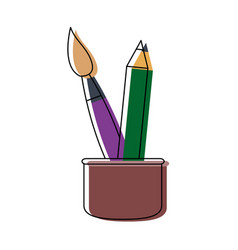 Cup with writing utensils pen brush in flat design vector
