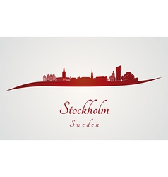 Stockholm skyline in red vector image
