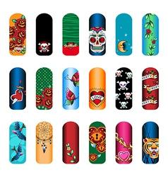 nail set tattoo vector image