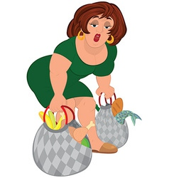 Cartoon fat woman in green dress lifting grocery vector