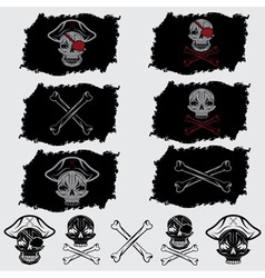 Pirate skull with hat set on flags and icons vector
