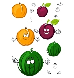 Sweet cartoon peach watermelon and plum vector