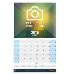 July 2016 wall monthly calendar for 2016 year vector