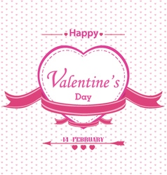 Valentines day with full pink heart isolated on vector