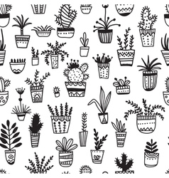 Ethnic pot flowers seamless pattern vector
