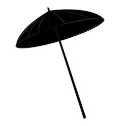 Beach umbrella black silhouette vector