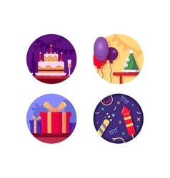 Birthday icon flat color vector image