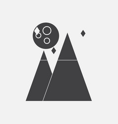 Black icon on white background moon and pyramids vector