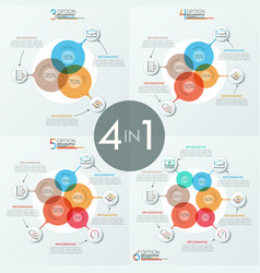 Bundle of 4 unusual infographic design layouts vector
