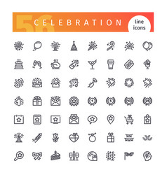 Celebration line icons set vector