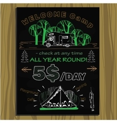 Chalk board invitation for holiday in the camping vector