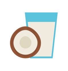 Coconut juice tropical fruit beverage vector