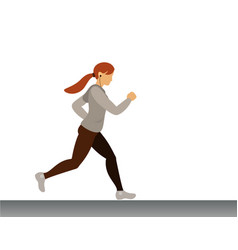 Cute sport girl running morning jogging vector