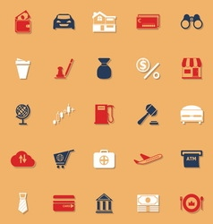 E wallet classic color icons with shadow vector