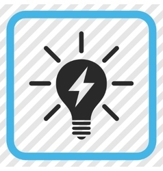Electric light bulb icon in a frame vector
