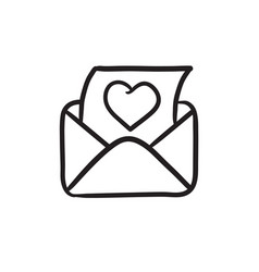 Envelope mail with heart sketch icon vector