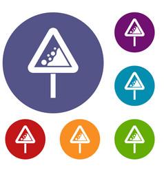 falling rocks warning traffic sign icons set vector image vector image