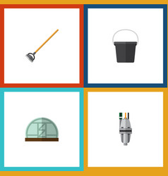 Flat icon garden set of tool hothouse pail and vector