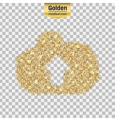Gold glitter icon of cloud isolated on vector