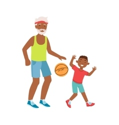 Grandfather And Grandson Playing Basketball Part vector image vector image