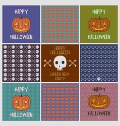 Halloween holiday cards pattens set vector