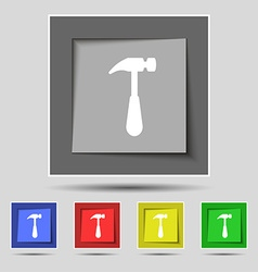 Hammer icon sign on original five colored buttons vector image