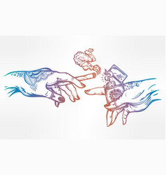 hands with weed joint or cigarette and a lighter vector image vector image
