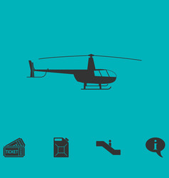 Helicopter icon flat vector
