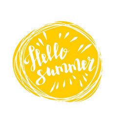 Hello summer time sun eco bio lettering text vector