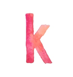 Letter k colorful watercolor aquarelle font type vector