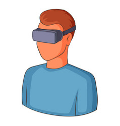 Man with virtual reality goggles icon vector