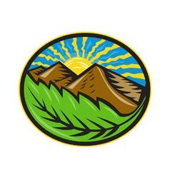 Mountains leaf sunburst retro vector