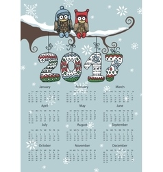 New year calendar 2017owl coupleknitting numbers vector