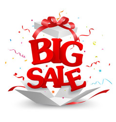 opened big sale out of the box with confetti vector image vector image