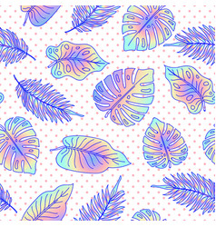 Palm tree leaves seamless pattern with dots vector