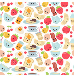 pattern with breakfast food and beverages pattern vector image vector image