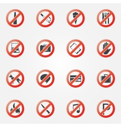 Prohibited or restriction icons set vector