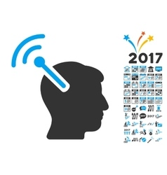 Radio neural interface icon with 2017 year bonus vector