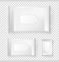 Realistic pack of wet wipes icon set vector