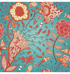 seamless floral pattern with abstract flowers and vector image