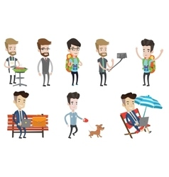 Set of traveling people and businessmen vector