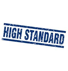 square grunge blue high standard stamp vector image vector image