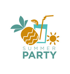 Summer party graphic logo emblem isolated on white vector