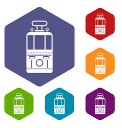 Tram front view icons set hexagon vector